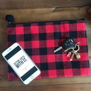Handbags - Buffalo Plaid Flannel Clutch Cosmetic Lumberjack